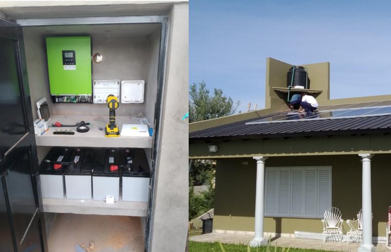 Proceso de instalacion de paneles solares, banco de baterias y equipo  inversor